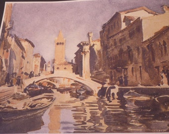 Venice canal scene by John Singer Sargent - Fine Art Print - Giclee Print -