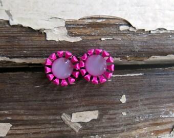 stud earrings, vintage enamel and glass. snapdragon