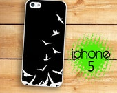 iPhone 5S Birds Flying Birds Silhouette Plastic or Rubber Case for iPhone 5 iPhone 5S Black and White Shabby Cottage Chic