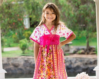 "Pink & Orange Patterned ""Perfectly Happy"" Kimono Dress - Girls - Spring - Birthday - Party - Special Occasion - Holiday - Japanese"
