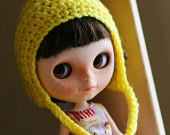 Blythe Hat Gnome Helmet - Crochet Pixie Hat for Blythe - Yellow Doll Accessories