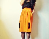 90s Silk Neon Haze Orange Skirt with Black Fringe and Pockets. Small. Medium.