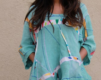 origami sculpted hand dyed linen pullover with Otomi embroidery OOAK