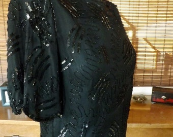 Vintage 80s New wave Glam Black silk  sequin and beaded Blouse M