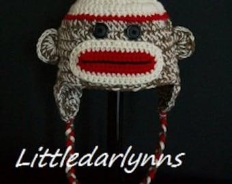 Sock monkey hat Brown crochet ear flaps braids sizes Newborn Baby Toddler Teen Adult Girl or Boy