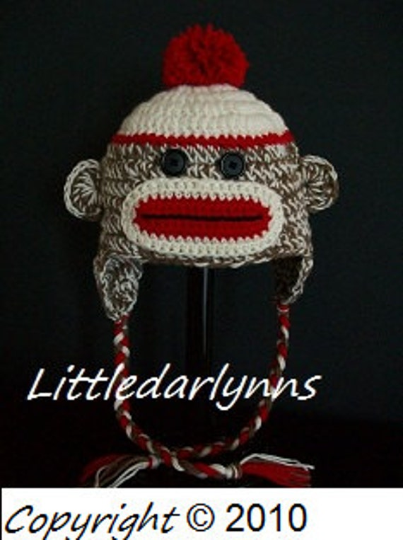Sock monkey hat Brown crochet ear flaps braids sizes Newborn Baby Toddler Teen Adult Girl or Boy