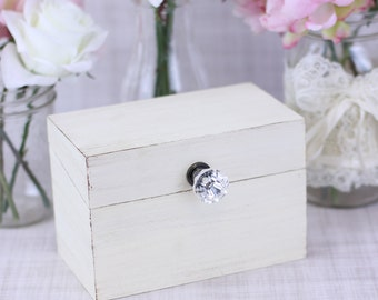 Shabby Chic Recipe Box With Glass Knob Custom Wedding Shower Decor (Item Number MHD20094)