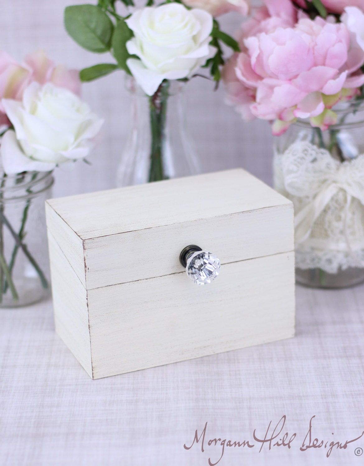 shabby chic recipe box with glass knob custom by braggingbags. Black Bedroom Furniture Sets. Home Design Ideas