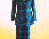 Retro/Vintage Blue Plaid Three-Piece (Blazer, Pants and Skirt) with Brass Buttons