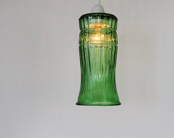 Pendant Lamp Made From A Vintage Green Glass Flower Vase, Hanging Pendant Light, Upcycled BootsNGus Modern Chic Lighting &Home Decor