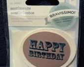 Great New Bravissimo Embellishment - Teal Sentiment on Glittery Cardstock Medallion - Happy Birthday - from Making Memories - FREE SHIPPING