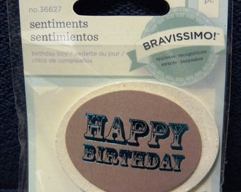 Reduced!  New Bravissimo Embellishment - Teal Sentiment on Glittery Medallion - Happy Birthday - from Making Memories - FREE SHIPPING