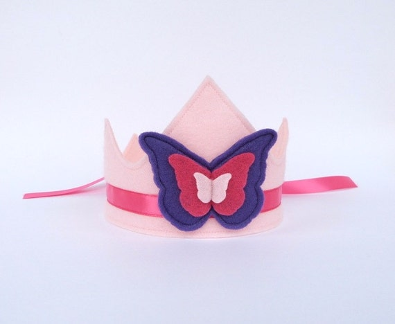 RESERVED for Lori -- Felt Butterfly Crown with Ribbon Ties -- Pink and Purple