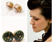 Hobbit Door Earrings in Hand-Painted Green and Gold--One Pair