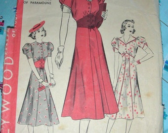 Vintage 1930's HOLLYWOOD Movie Star Sewing Pattern 1538 - BETTY GRABLE - Lovely Day Dress in 3 Variations - Unused - Bust 34