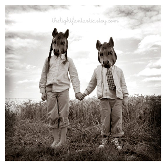 Sister and Brother Fine Art Print--Children Masks Horse Field Siblings Photograph Creepy Weird Black and White Portrait Wholesale