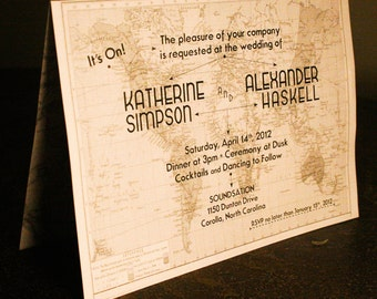 Vintage Travel Themed Wedding Invitation & Paperie