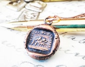 Destiny French Wax Seal Pendant - This is My Destiny - Field of Green - Telle Est Ma Destinée - Que Sera Sera