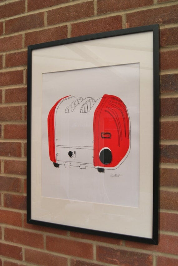A2 Silk Screen Print of Classic Toaster in Red