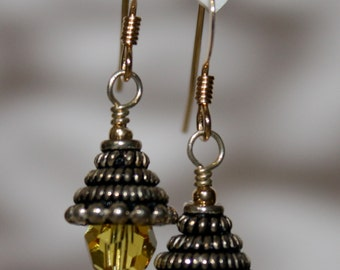 Light Topaz Earrings Mixed Precious Metals Sterling Silver 14K Gold Filled Swarovski Crystal November Birthstone Jewerly For Her