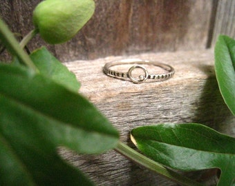 Silver Orbit Ring with Textured Band