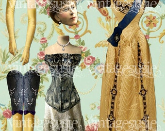 Vintage Art Paper Doll Collage Sheet 'Queen Mary of Teck' digital download