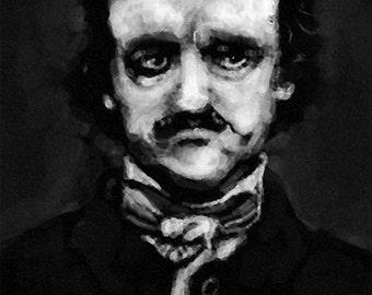 Edgar Allan Poe Portrait Print, 5x7 or 4x6