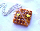 polymer clay best friend square waffle necklaces with heart shaped butter - bff necklaces valentine's day