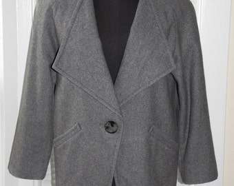 Vintage 80s - That Avant Garde Edge - Grey Wool Jacket - s/m