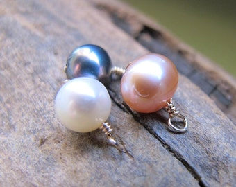 Freshwater Pearl Drop Dangles. White, Peach, Black Pearl Charms set. Gold Wrapped Pearls