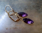 Purple Rhinestone Dangle Earrings - Vintage Amethyst Czech Glass Jewels Brass - Light Weight