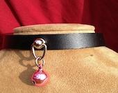 Tiny Light Pink Bell on Black Leather Choker