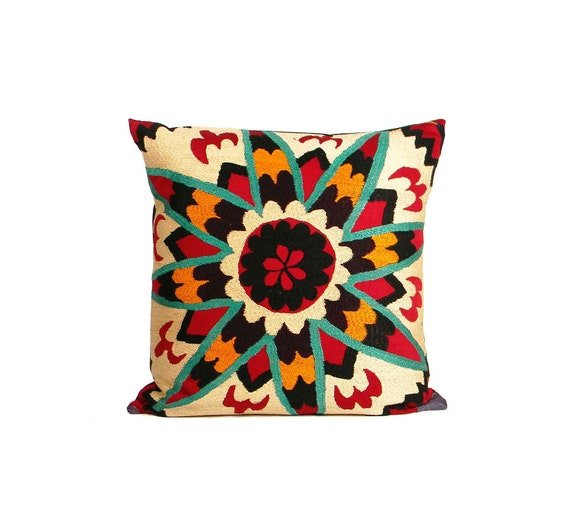 Antique Suzani Pillow - Bright Teal Star on Red - 16 x 16