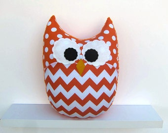 Large Chevron Owl Pillow Orange Zig Zag Nursery Decor