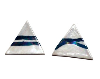 "80s Ceramic AVANTE GARDE Earrings - ABSTRACT - Triangles - Signed ""Sottile"""