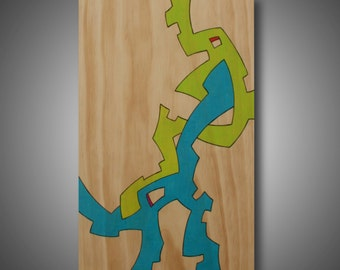 "Modern Art, Original Abstract Design Woodburned onto Pine, Colored with Prismacolor Pencil, ""Amalgamation"" 11.25"" x 17"""