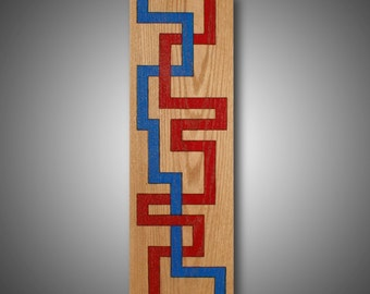 """Large Modern Abstract Art - Original Design Wood burned onto Oak and Colored with Prismacolor Pencil - """"Blood Flow"""" 9.25"""" x 29"""""""