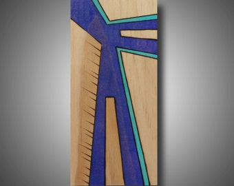 """Abstract Modern Art - Original Design - Woodburned Art - Pine -Prismacolor Pencil - """"In Transit"""" 3.5"""" x 8.5"""" - Contemporary Home Decor"""