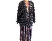 Vintage 80s Paula Sweet Eyelash Muslin Mink Skirt n Jacket Set Paisley Velvet