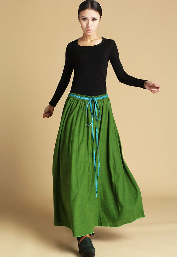 Lime green skirt, linen skirt ,long skirt,maxi skirt,drawstring skirt, boho skirt, full skirt, circle skirt, plus size skirt, gift ideas 464
