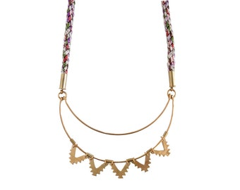 Crescent Sun Braided Necklace - Brass and fiber - As seen on Anthropologie