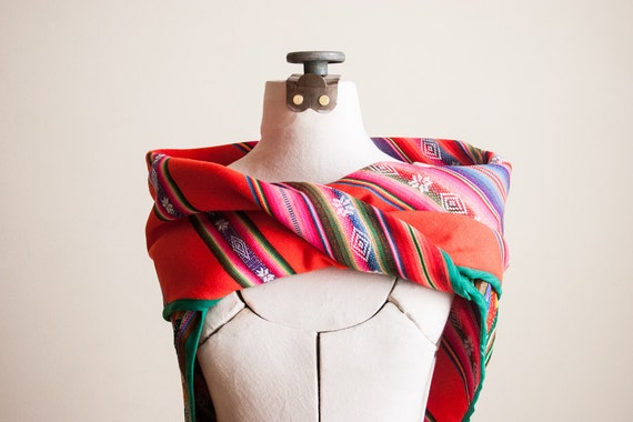 Neon Orange Triangle Inca scarf - neo folk wrap in chocolate brown and tangerine