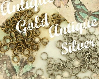 Antique Silver or Antique Gold Jump Rings 20 gauge 5mm OD  - Best Commercially Made - 100% Guarantee