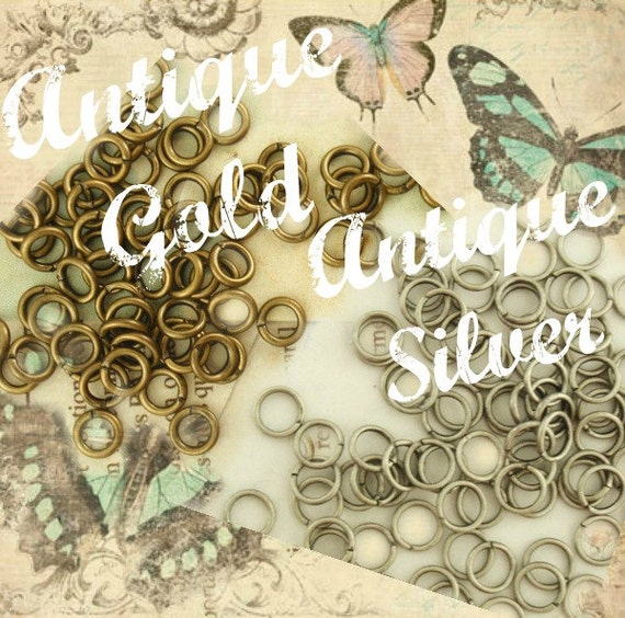 100 Antique Silver or Antique Gold Jump Rings 20 gauge 5mm OD  - Best Commercially Made - 100% Guarantee