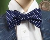 Bow Tie Navy Blue Polka Dot