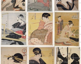 VINTAGE Japanese  Woodcuts by Kitagawa Utamaro Collage Sheet 101 Instant Digital Download