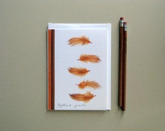 Mallard duck, feather greeting card, female Mallard feathers, natural feathers, modern design card, no.07