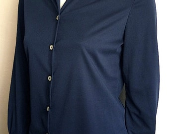 Vintage Women's 70's Blouse, Navy Blue, Long Sleeve by Lady Blair (M)