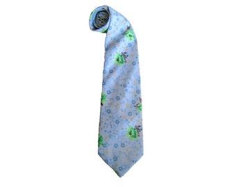Baby Blue Necktie, Men's Vintage Floral Pastel Tie