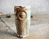 travel mug owl ceramic reusable coffee mug in pistachio green
